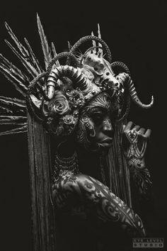 Chad Michael Ward Photography  - Headpiece: Miss G Designs  - Modeling: Wamuhu Waweru  - Body Paint: Michael Rosner  - MUA: Roxy Garvan Mua  - Horns: Faust & Company