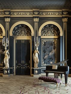 Beautiful Photo of Interior Classic French Country Which Will Make You Speechless . Interior Classic French Country Which Will Make You Speechless Blackummixing Between Gold Black Color In Luxury Style Gold Interior, Classic Interior, Luxury Homes Interior, Luxury Home Decor, Home Interior Design, Interior And Exterior, Interior Decorating, Palace Interior, French Interior