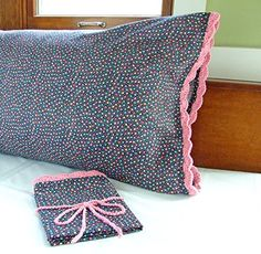 Crochet Pillowcase in BLACK with MULTICOLOR STARS 100 Cotton Fabric with ROSE Crochet Edging Standard Size Black and Pink Pillowcase 1 >>> Check this awesome product by going to the link at the image. Black Pillows, Pink Pillows, Pink Bedding, Black Bedding, Pink Pillow Cases, Crochet Pillow Cases, Crochet Chain, Crochet Trim, Hand Crochet
