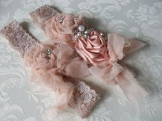 Wedding Garter and Toss/ Shabby Chic Wedding Garter/Perfect For You Garter in Your Colors/ Baby Headband/ Girls Headband. $27.99, via Etsy.