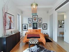 The chic and eclectic bedroom in Jennifer Aniston's West Village penthouse.