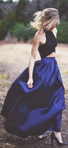 Sharp blue colour long skirt and black blouse / http://www.himisspuff.com/wedding-guest-dress-ideas/4/