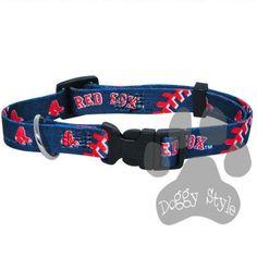 Officially Licensed MLB Boston Red Sox Premium Baseball Dog Collar  http://doggystylegifts.com/collections/licensed-mlb-dog-collars/products/officially-licensed-mlb-boston-red-sox-premium-baseball-dog-collar