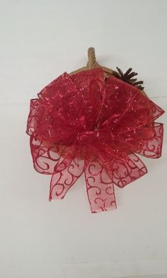 Sheer Red Swirl Valentine's Day Bow ~ Wreath Bow ~ Elegant Bow for a Floral Bouquet ~ Wedding Decorations ~ Garland Bow ~ Large Gift Bow