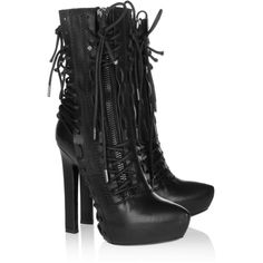 Haider Ackermann Lace-up leather ankle boots (3,230 ILS) ❤ liked on Polyvore featuring shoes, boots, ankle booties, heels, ankle boots, booties, black, black heeled boots, black leather boots and black leather ankle booties