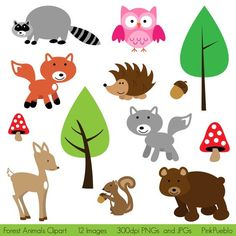 Forest Animals Clipart - Print Candee Baby's First birthday ...