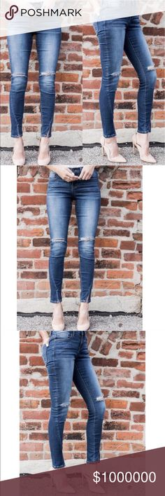 """Almost Gone❣️Distressed Angel Jeans with Slit Knee Distressed Angled Denim in this medium with subtle whisker and fade details on the front and rips at the knees. Favorite angled silhouette that has a wrap seam to the front with a split at the ankle! Please note the wash of each pair of denim is always slightly different. Length: Inseam length on a size small measures 29"""" Size: 1 (24-25"""") 3 (25-26"""") 5 (26-27"""") 7 (27-28"""") 9 (28""""-29"""") 11 (29-30"""") Denim is 75% Cotton, 22% Polyester and 3%…"""