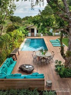 teal accents by a pool