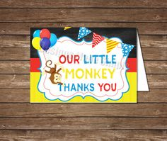 Little Monkey Birthday Thank You  Printable  by DesignsMadeSimple