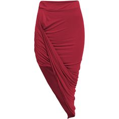 SheIn(sheinside) Wine Red Slim Bodycon Asymmetrical Skirt ($11) ❤ liked on Polyvore featuring skirts, bottoms, saias, red, cotton skirts, slimming skirts, long red skirt, long skirts and bodycon skirt