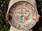 Museum Item! 36.5cm Chinese Antique Porcelain Oriental Swatow Polychrome Plate
