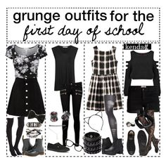 """grunge outfits for the first day of school // k e n d a l l"" by practically-pop-punk ❤ liked on Polyvore"