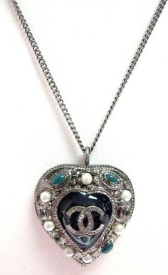 NEW AUTHENTIC CHANEL Gunmetal Silver Faux Pearl Turquoise Heart Necklace B 11 A at www.ShopLindasStuff.com