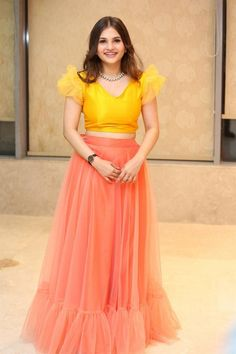 Indian Actress Ramya Pasupuleti In Pink Lehenga Yellow Choli