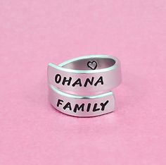 OHANA FAMILY - Hand Stamped Aluminum Spiral Ring, Family Love Jewelry, mother, Daughter Sisters Gift, Personalized Gift * Startling review available here  : Handmade Gifts