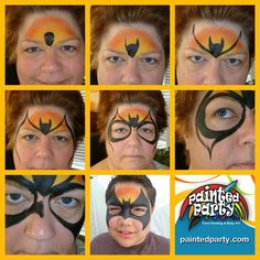 """Bat Mask Design by Denise Cold of Painted Party Face Painting www.PaintedParty.com done with Starblend Orange and Yellow and 1/2"""" flat brush in black"""
