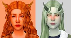 Accessory Horns and Hair Strands by @faaeish! in the Historian palette by @serindipitysims and the Sorbet Remix palette by @noodlescc!   anxiousmoodlet on Patreon