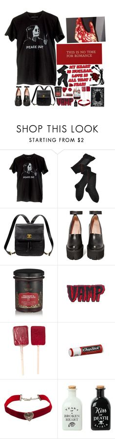 """""""dirty secrets, empty memories, and broken hearts across the floor"""" by ghostclub ❤ liked on Polyvore featuring Trasparenze, Kate Spade, Jeffrey Campbell, Kreepsville 666 and Chapstick"""
