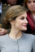 Queen Letizia of Spain attends investiture of honorary doctors by Salamanca's University at Paraninfo of Salamanca's University on April 5 2016.