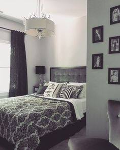 Black and white damask grey Audrey Hepburn bedroom {Details: Sherwin WIlliams Passive Gray, grey velvet tufted padded headboard, damask curtains, Belk damask bedspread, Keep Calm and Carry On black and white bedding}