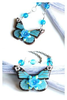 Tiny turquoise blue vintage style butterfly by paperthoughts