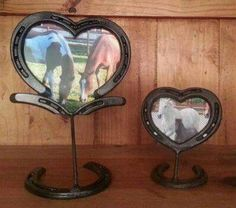 Photo frames made from horse-shoes