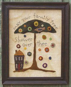 Primitive Folk Art Wool Applique Pattern:  FAMILY TREE