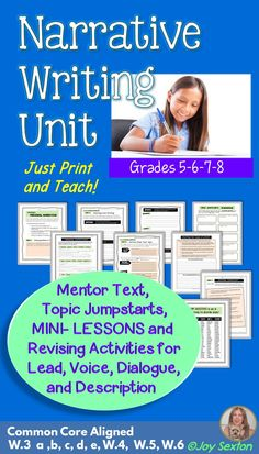 """Narrative Writing Unit – Here's a """"print and teach"""" CCSS-aligned Personal Narrative Unit with engaging mini-lessons and activities that will lead to strong student writing! I created this resource because my students needed to develop voice, rich description, and lead and dialogue-writing skills. Includes Topic Ideas, Mentor Text, Rubric, and more!"""