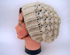 Unisex Crochet Hat Textured Wool Slouchy by BettyMarieJones, .00