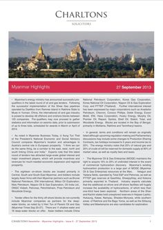 Myanmar Highlights - Issue 6 (1 of 3) - Myanmar's energy ministry has announced successful prequalifiers in the latest round of oil and gas tenders...