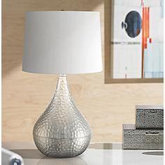 Jasper Hammered Metal Brushed Steel Gourd Table Lamp