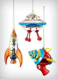 Retro Spacecraft ornaments - so freakin' cool!