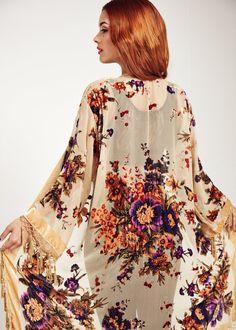 Velvet Fringe Kimono Jacket - Champagne Gypsy Woman