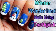 CHRISTMAS NAIL ART   Winter wonderland Nail Art Tutorial using Toothpick...
