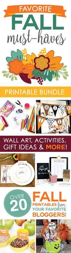 Buckle up, ladies!! Are you ready for this?! Grab a chair cause you're gonna to want to sit down. Announcing our Favorite Fall Must-Haves Printable Bundle! AHHH. It's so awesome, you guys! We've teamed up with some AH-MAZING bloggers, gathered 20+ printables for you, put them all in a fun bundle, aaaaand slashed the price! You get $238 worth of ADORABLE items for only $15. No. We're NOT KIDDING! Gorgeous wall art, fun family activities, creative gift ideas, and MORE!!