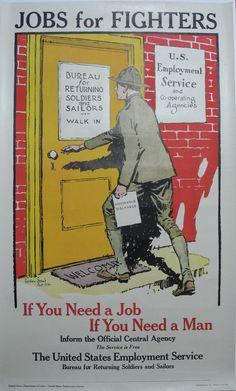 Rare Original WW1 Jobs for Fighters Poster, Gordon Grant, 1917