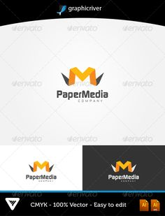 PaperMedia Logo  #GraphicRiver         Item Details:  	 • Color CMYK  	 • Fully editable AI and EPS files  	 • Easy editable color and text  	 • Free Font Continuum  	 • Two Color Variations  	 For additional information please contact me   	 The font can be Downloaded at dafont for Free:   .dafont /continuum.font     Created: 6October13 GraphicsFilesIncluded: VectorEPS #AIIllustrator Layered: Yes MinimumAdobeCSVersion: CS Resolution: Resizable Tags: app #apps #brand #branding #business…