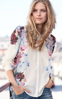 Casual Flower Prints Chiffon Blouse-12.90FREE SHIPPING
