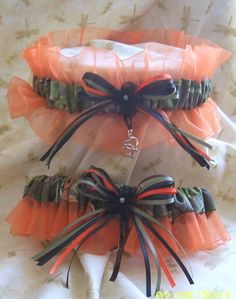 Realtree camo with ORANGE wedding garter set by kits257 on Etsy, $19.99