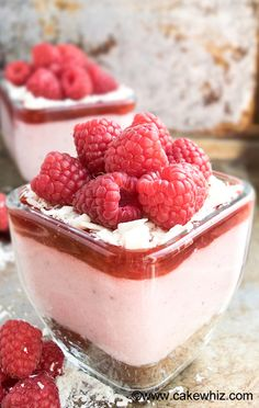 This fresh RASPBERRY MOUSSE is so smooth and creamy that it just melts in your mouth. Perfect dessert for Summer or even Valentine\'s Day. Serve it as a layered dessert with brownies, raspberry jam, chocolate shreds and more raspberries {Ad}. From cakewhiz.com