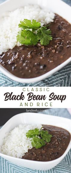The classic black bean soup recipe you've been looking for! The scoop of rice makes this the ultimate comfort food. Top with cilantro and cheese!