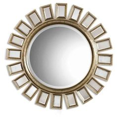 Uttermost 'Cyrus' Round Mirror (93 KWD) ❤ liked on Polyvore featuring home, home decor, mirrors, silver, sun shaped mirror, uttermost mirrors, round sunburst mirror, beveled mirror and sun burst mirror