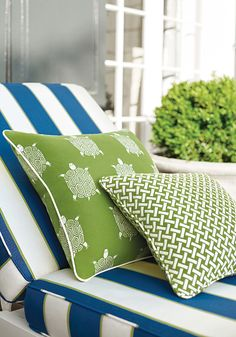 Oasis Awning woven fabric in Marine Blue Portico woven fabric in Kiwi Turtle Bay woven fabric in Kiwi from the Portico collection. #Thibaut