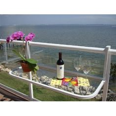 Terrace Table (White) - Balcony Bar Patio Table Furniture