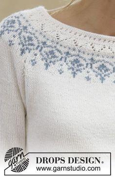 Strikket DROPS bluse i Baby Merino med raglan og rundt bærestykke. Str S - XXXL. Gratis opskrifter fra DROPS Design.