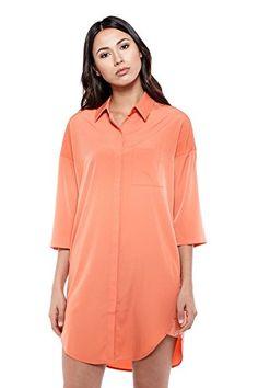 RODE NOIR WOMEN PENELOPE SHIRT DRESS XS ORANGE -- Click image for more details.