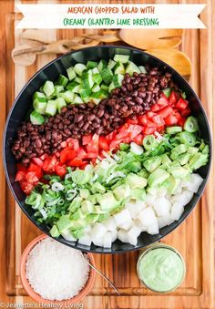 Mexican Chopped Salad with Creamy Cilantro Lime Greek Yogurt Avocado Dressing - this dressing is 100% oil free! Made with Greek Yogurt and avocado, it's super creamy and delicious ~ http://jeanetteshealthyliving.com