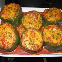 Stuffed Green Peppers on BigOven: These are easy to prepare and a delight to eat.