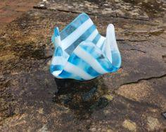 Blauw en wit gesmolten glazen Waxinelichthouder / kaars houder