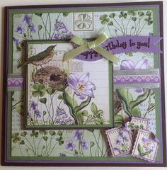 Birthday Card - Used Graphic 45 Time to Flourish - March Cut Apart.  Handcrafted by Debbie Hill / June 8, 2016.